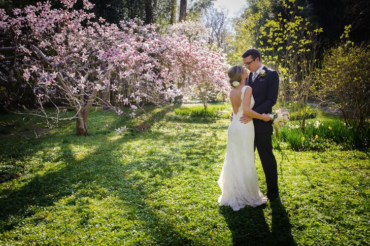 Sarah and Tom loved the Old Mill venue for its versatility and rustic charm. Together, they embraced its gardens with a soft palette of pink and green as well as lush florals. After their ceremony, the couple stepped away for a few cherry blossom detail shots with Rebecca Barger Photography.