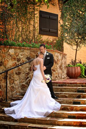 Romantic Bride and Groom on Steps