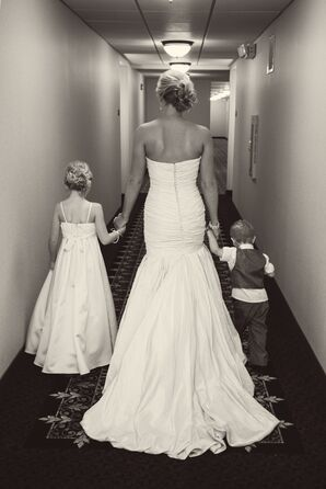 Bride in Strapless Mermaid Dress with Flower Girl and Ring Bearer
