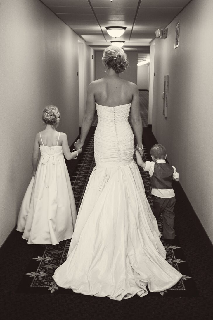 b4a148f4e Bride in Strapless Mermaid Dress with Flower Girl and Ring Bearer