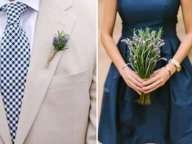 Lavender and rosemary bouquets and boutonnieres