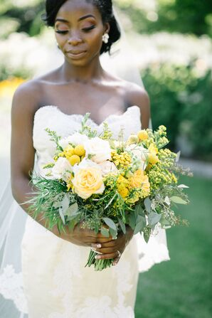 Bride Holding Yellow Bouquet for Wedding at Mystical Rose Gardens in Baldwin, Wisconsin