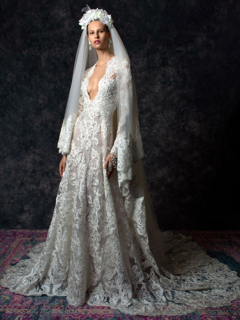Naeem Khan Spring 2020 Bridal Collection lace long sleeve wedding dress with veil
