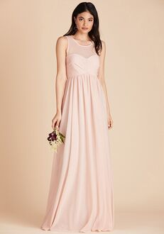 Birdy Grey Ryan Mesh Dress in Pale Blush Illusion Bridesmaid Dress