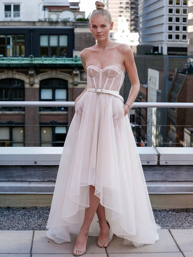 Eisen-Stein Spring 2020 Bridal Collection belted wedding dress with high-low silhouette