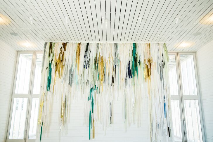Gold and Turquoise Ribbon Backdrop