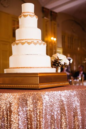 Ornate Gold and Ivory Wedding Cake