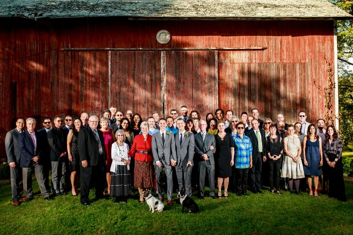 The Entire Wedding Party at the Buchanan Farmhouse