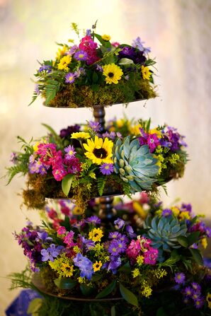 Towering Sunflower, Succulent, Wildflower Reception Decor