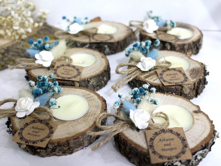 Rustic tealight holders for wedding favors