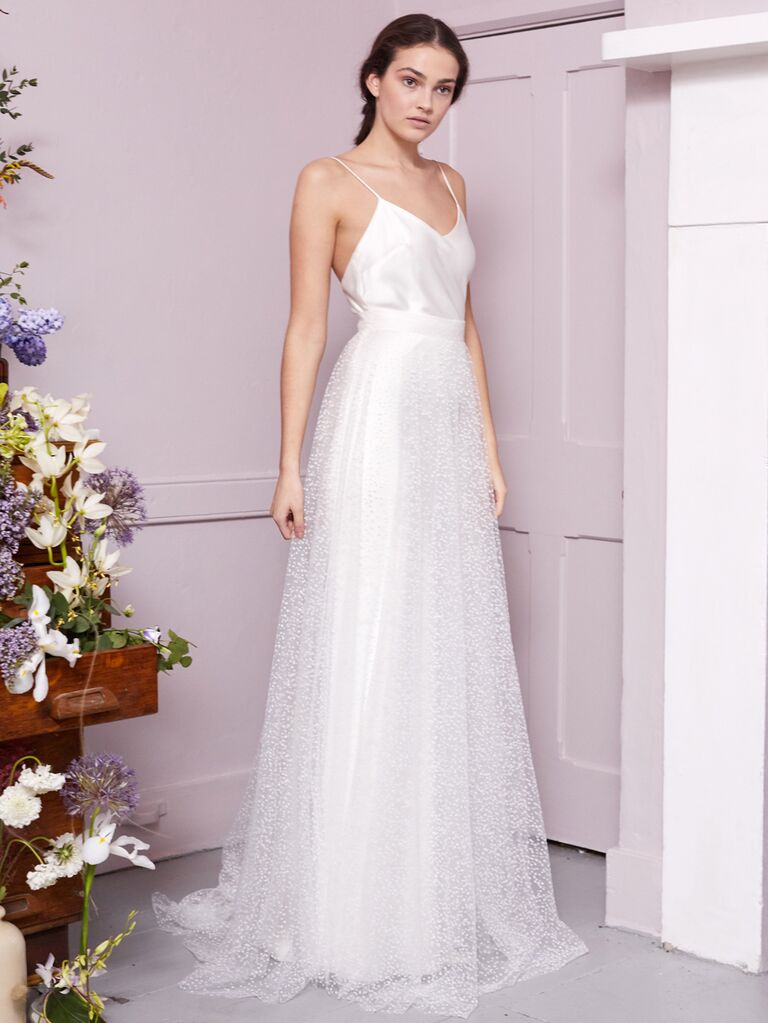 Halfpenny London 2020 Bridal Collection A-line wedding dress with spaghetti straps and polka-dot skirt