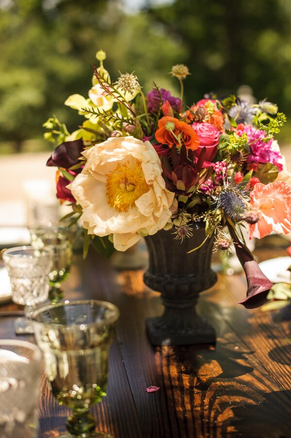 Rose and Peony Centerpieces in Stone Urns