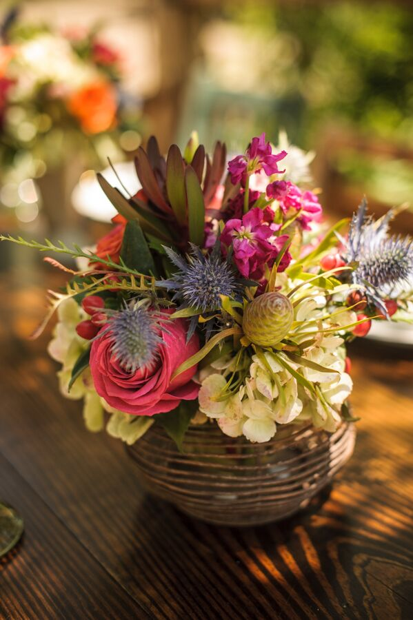 Rustic Pink Rose and Blue Thistle Centerpieces