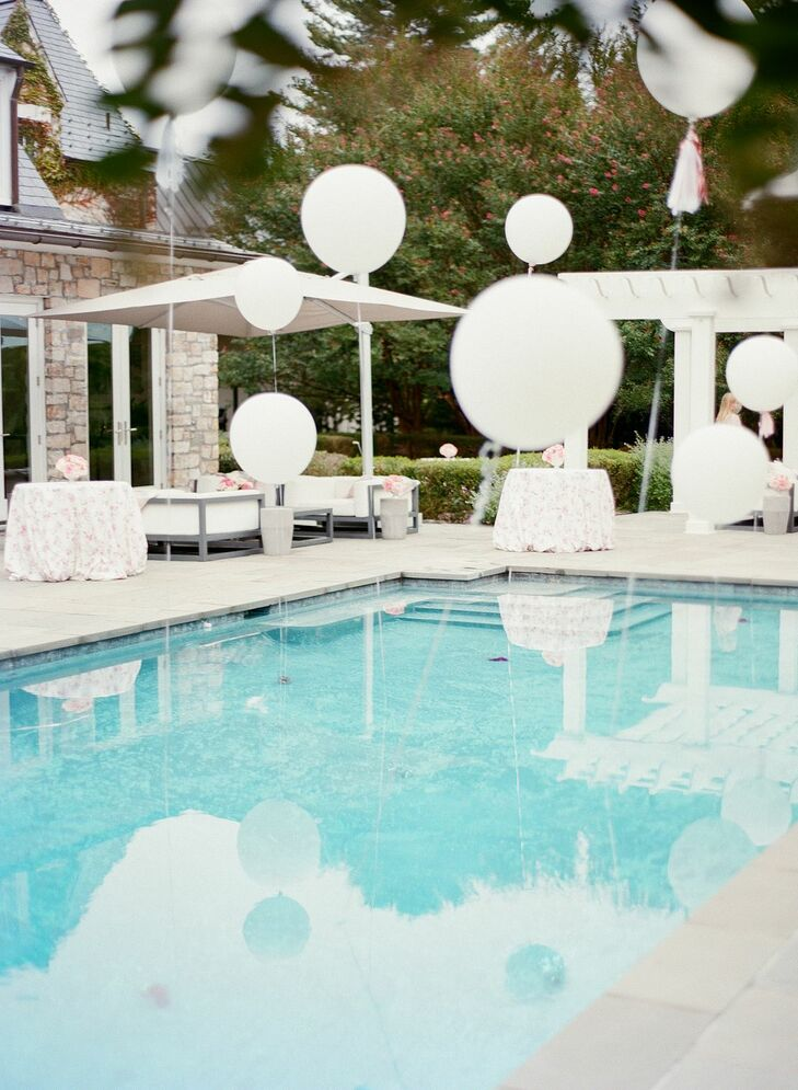 Balloons and Pool at Backyard Microwedding in Potomac, Maryland