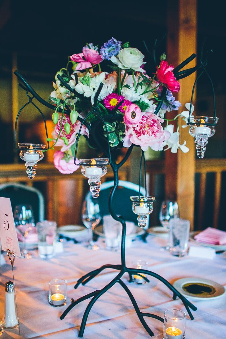 Colorful Flower Centerpiece With Hanging Candles
