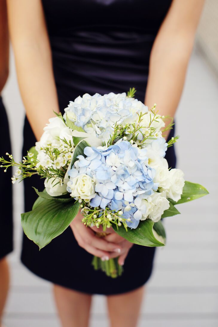 White Rose Bouquet With Greenery Bridesmaid