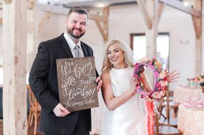 Rustic Couple with Colorful Tambourine and Wood Sign