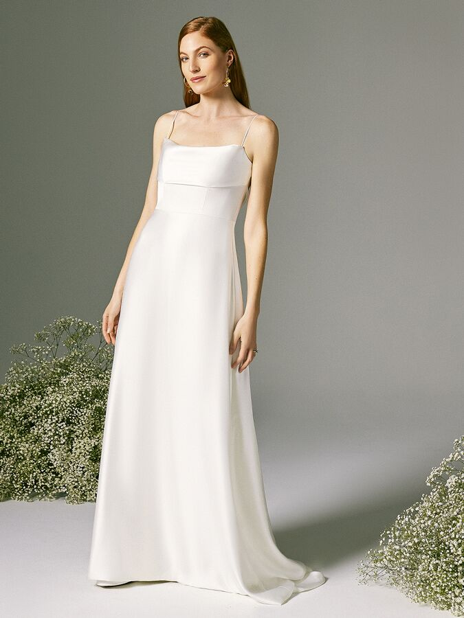 Savannah Miller structured satin fit-and-flare wedding dress