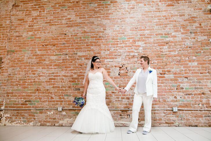 "Gloria Pierce-Garcia (left, 31 and a nurse) and Jill Pierce-Garcia's (39 and a teacher) wedding cake topper says it all: ""Today I marry my best friend"