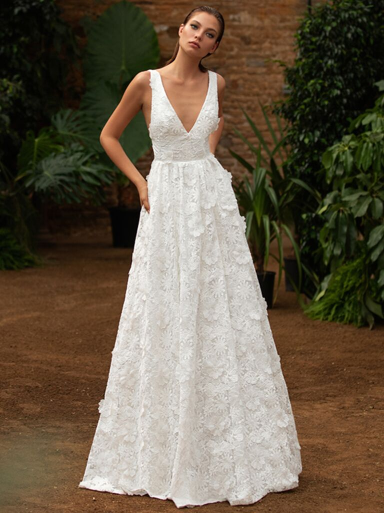 Zac Posen for White One A-line embroidered dress