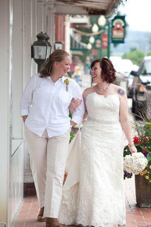 Floral and Swiss Dot Wedding Dress