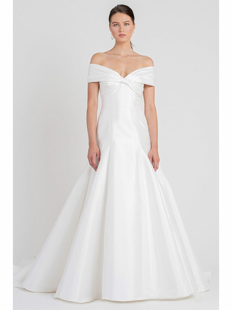 Jenny Yoo wedding dress off-the-shoulder trumpet gown