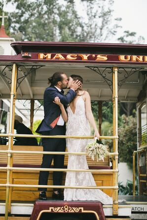 Classic Bride and Groom on Street Car