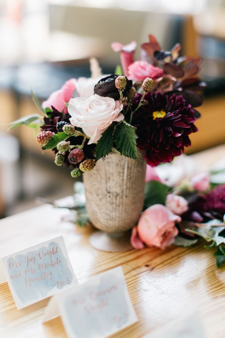 Pink and Burgundy Flower Arrangement with Berries