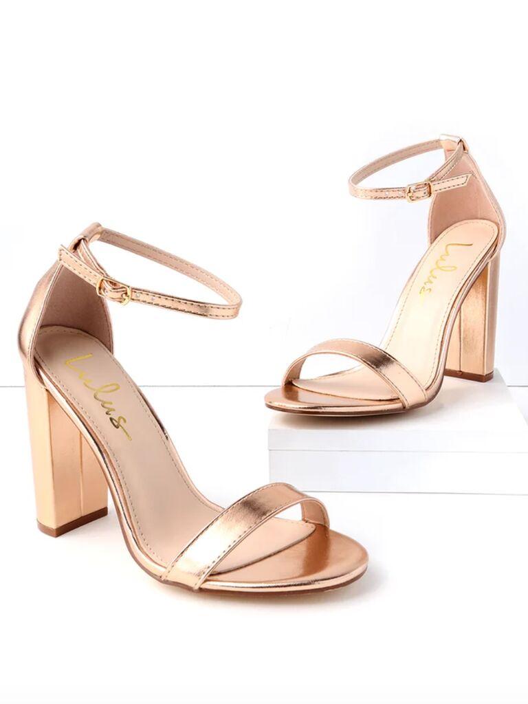 Lulus Taylor rose gold ankle strap heels