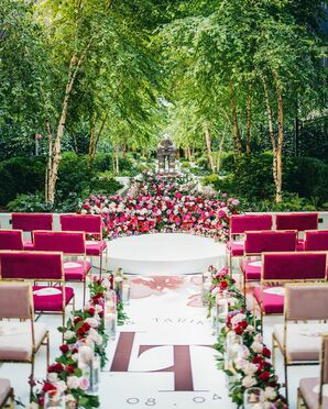 Ceremony With Pink Velvet Chairs and Custom Aisle Design