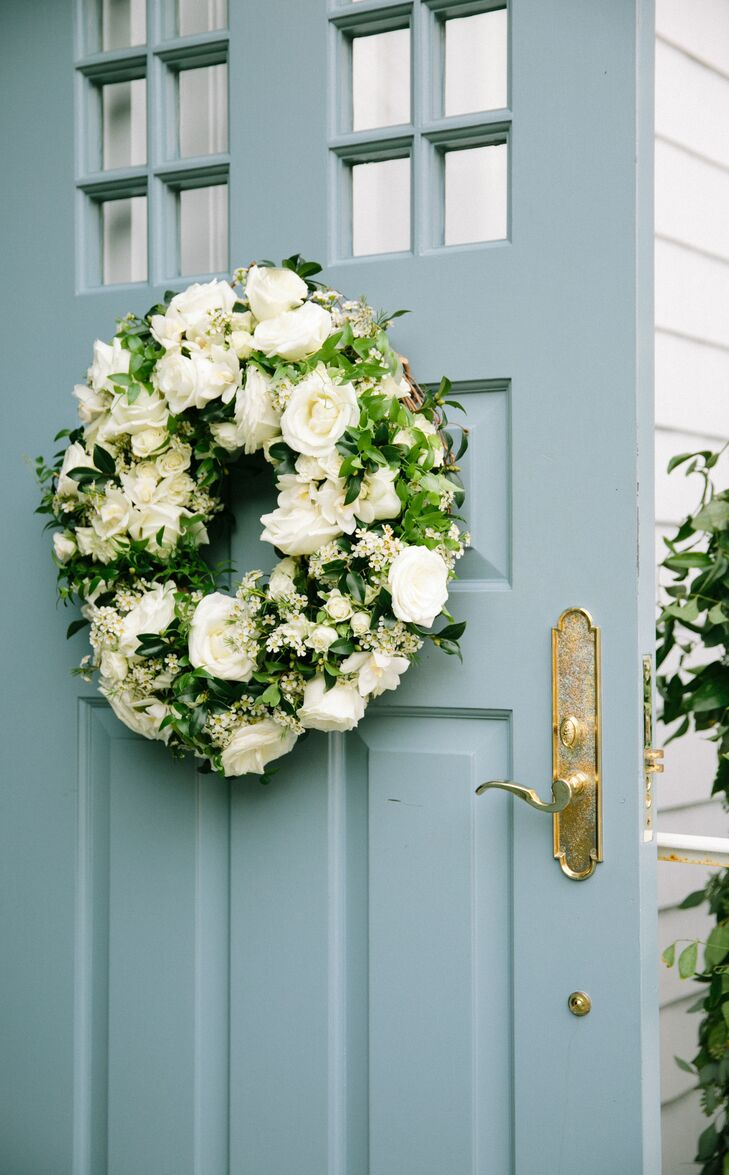 Wreath with White Roses and Greenery