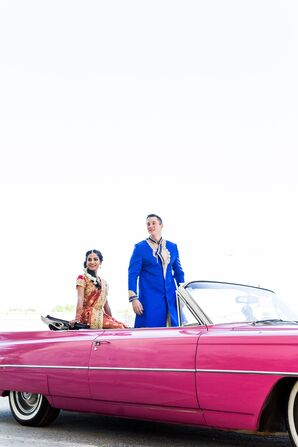Couple in Hot-Pink Cadillac