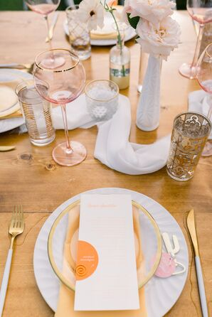 Whimsical Place Settings with Menus and Vintage Glassware