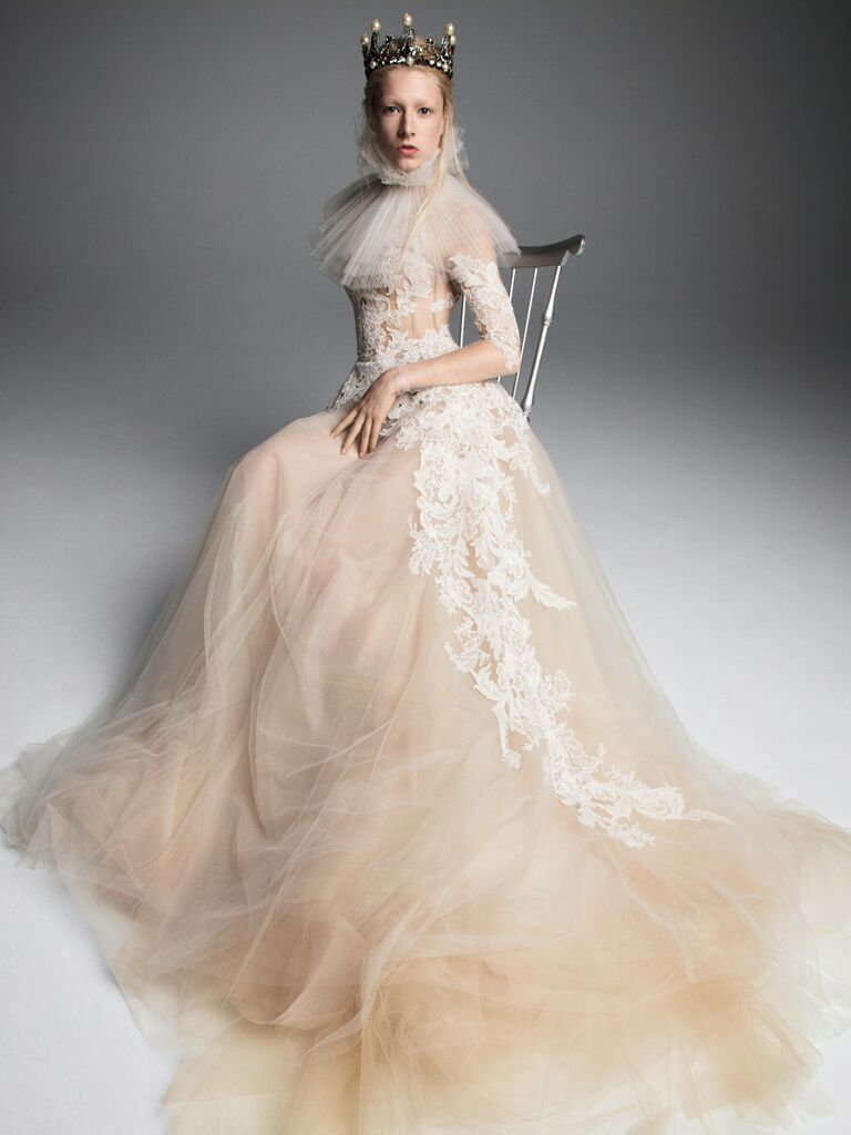 Vera Wang Fall 2019 Bridal Collection nude tulle and lace A-line wedding dress with dramatic neck detail