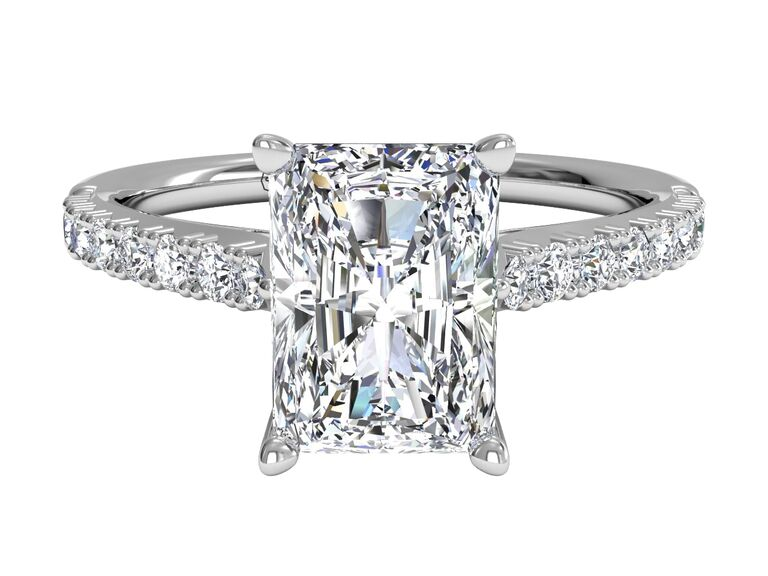 French set lab grown diamond engagement ring