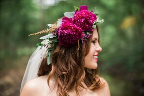 Bohemian Burgundy Flower Crown With Peonies
