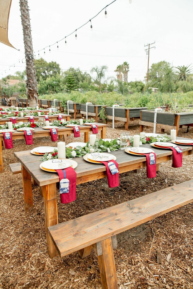 Farm Tables for Reception at Riverbed Farms in Anaheim, California