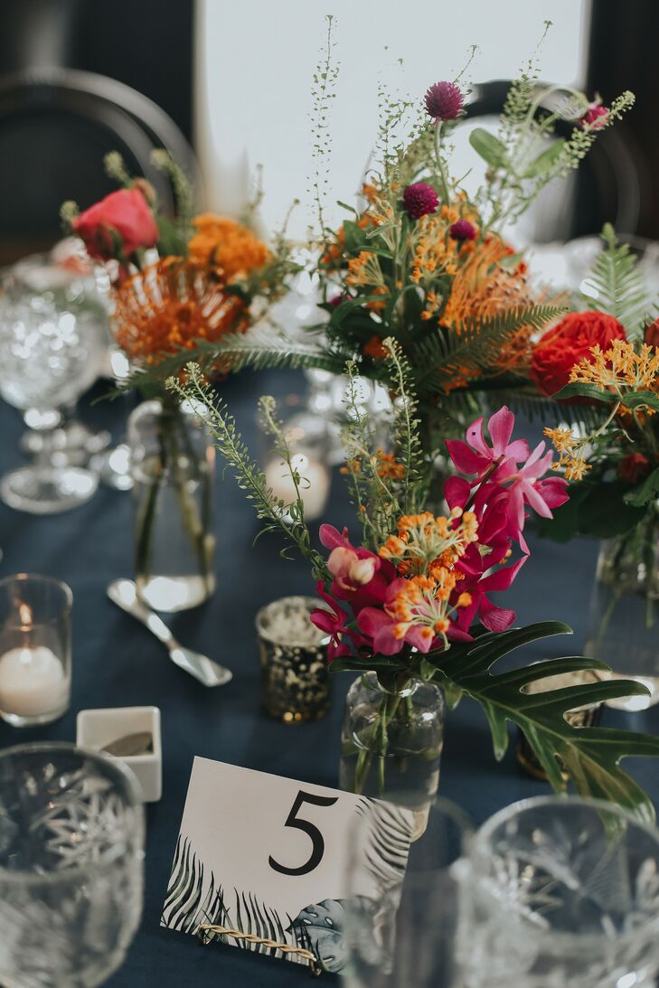 Tropical Centerpieces for Wedding at Ebell Long Beach in California
