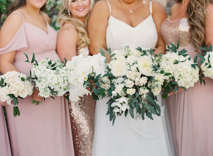 White-and-Green Bouquets for Wedding at Carneros Inn in Napa, California