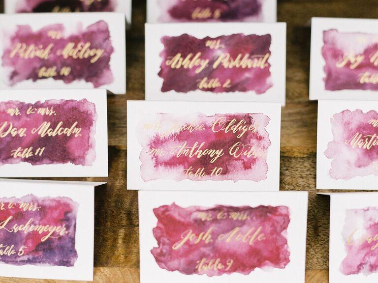 purple watercolor escort cards