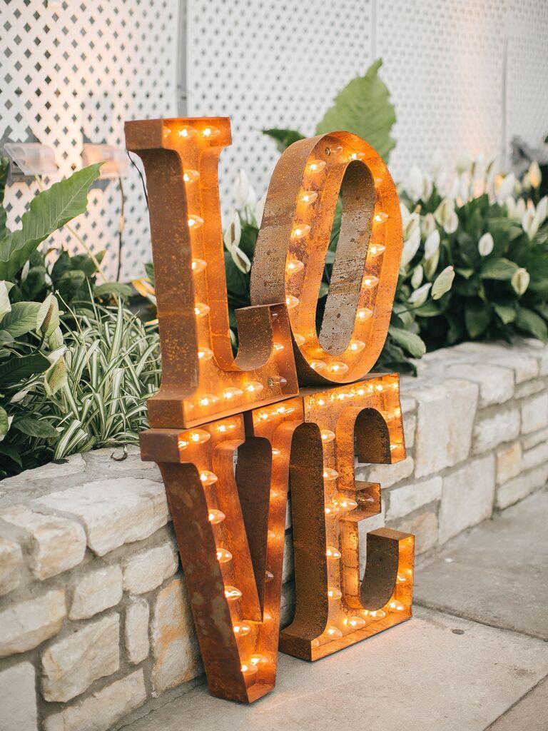 retro light-up LOVE sign