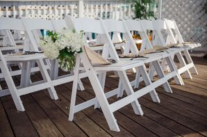 White Hydrangea Aisle Decor and Fans