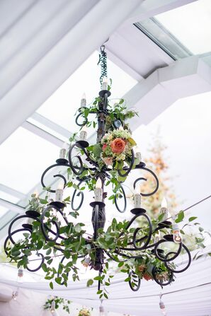 Garden-Inspired Ivy-Decorated Black Iron Chandeliers