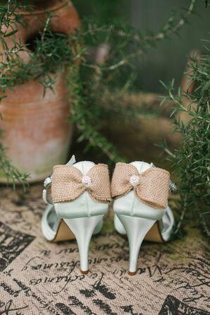 Burlap, Mint Bridal Heels