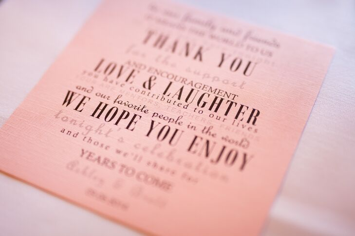 Ashley designed the simple pink and black thank you notes for each place setting.