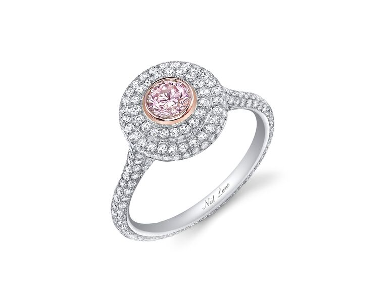 Neil Lane fancy pink and white diamond engagement ring