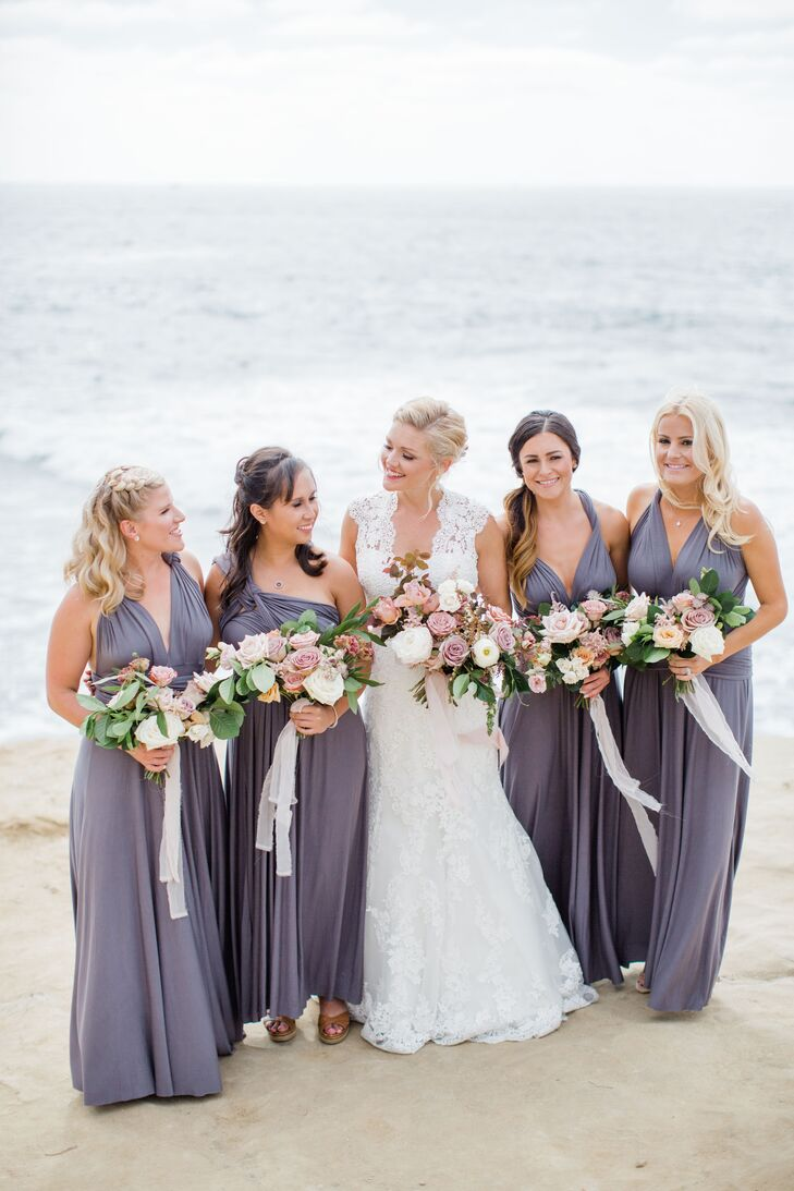 Bridesmaids in Lavender Gowns