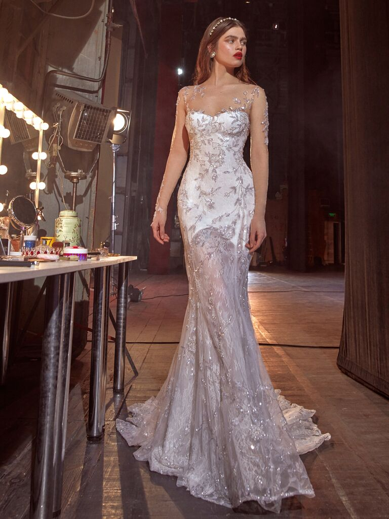 Galia Lahav Spring 2020 Bridal Collection glam wedding dress with sheer embroidered detailing
