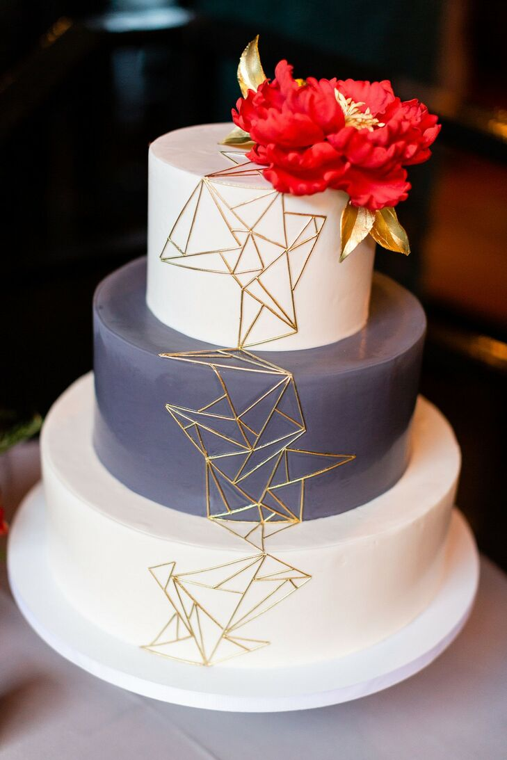Modern Fondant Cake with Gold Geometric Details