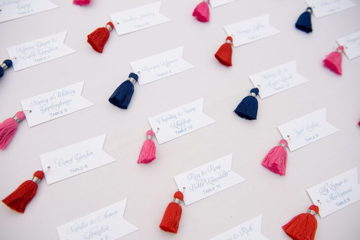 Escort Cards with Orange, Navy and Pink Tassels